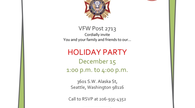 VFW Holiday Party 12/15 1pm-4pm