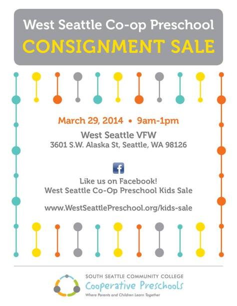 West Seattle Co-Op Preschool Consignment Sale 3/29/14 9am-1pm